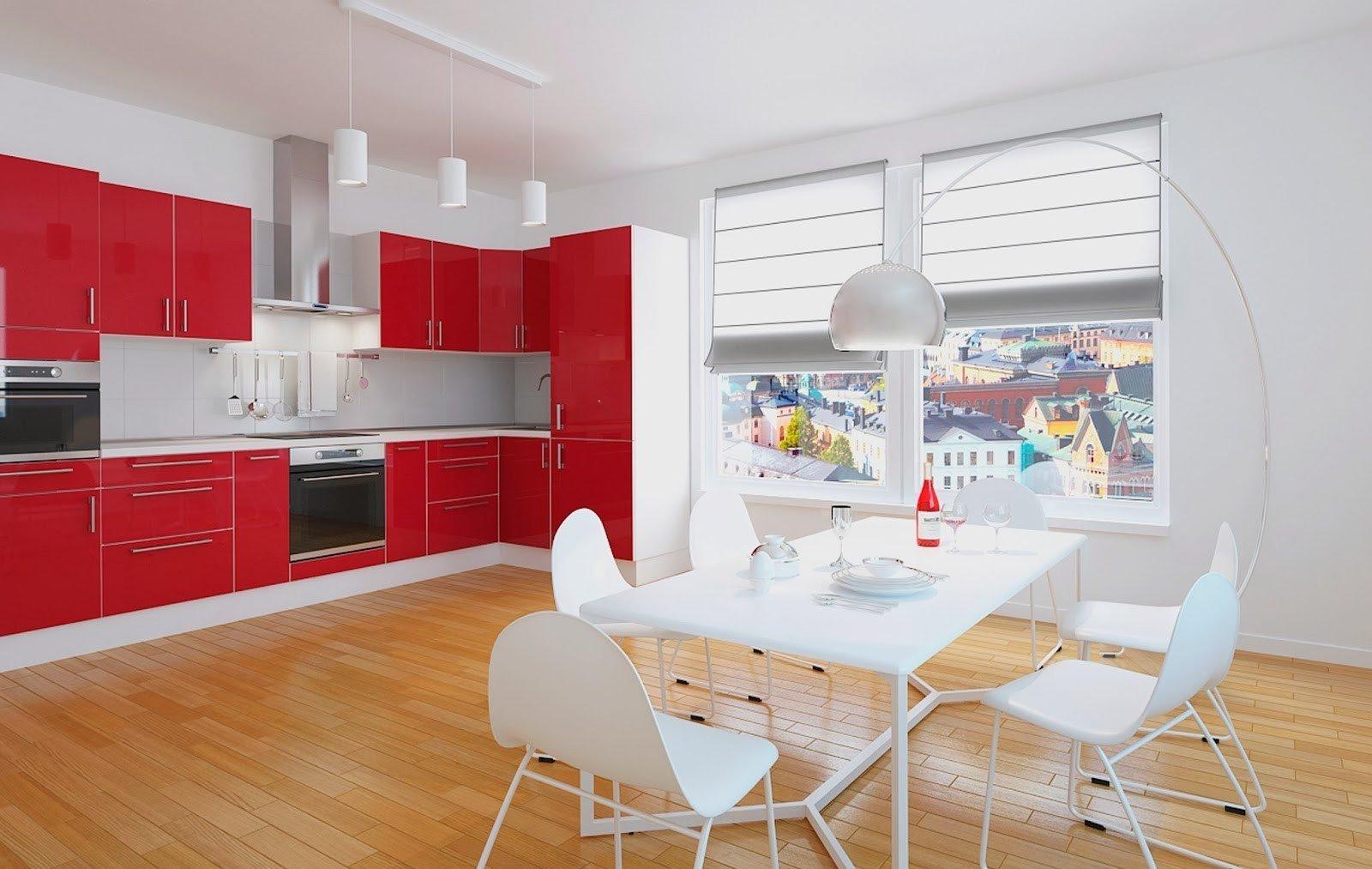 Красная кухня в интерьере