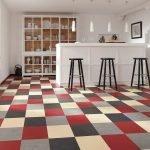 Цветной пол на кухне