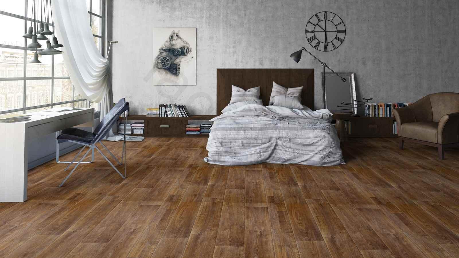 Алкидный линолеум в интерьере спальни