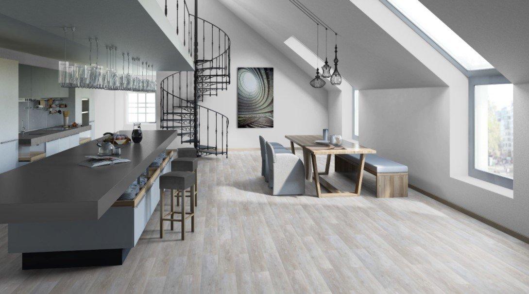 Линолеум в современном интерьере кухни столовой