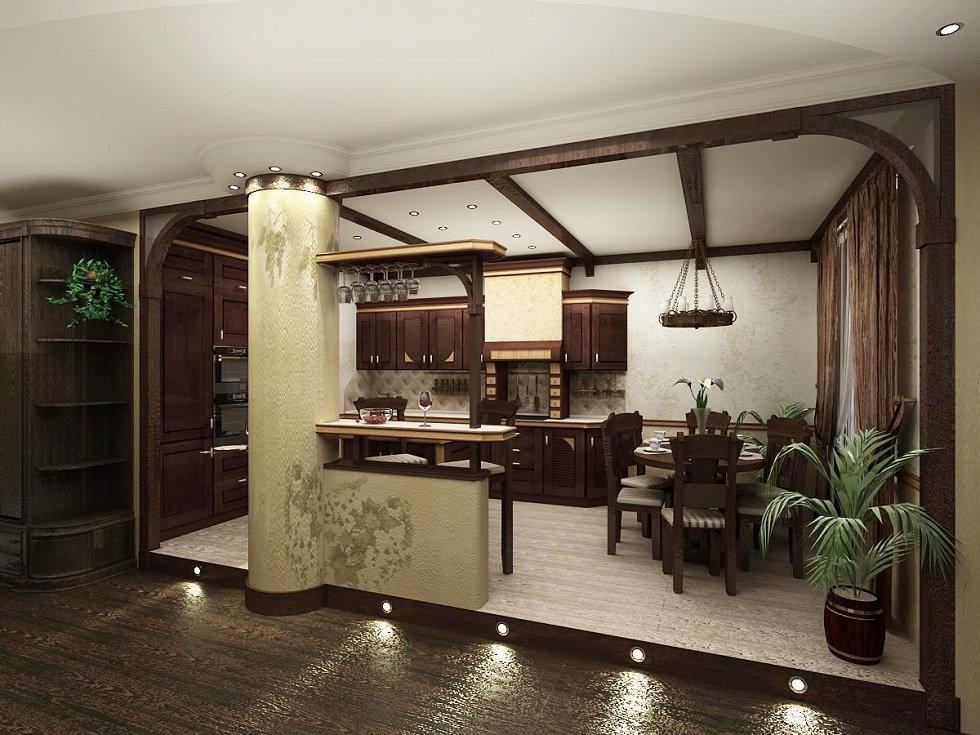 Подиум на кухне-столовой