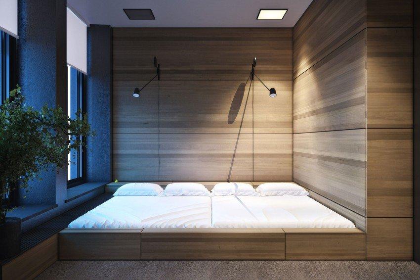 Подиум с кроватью в интерьере