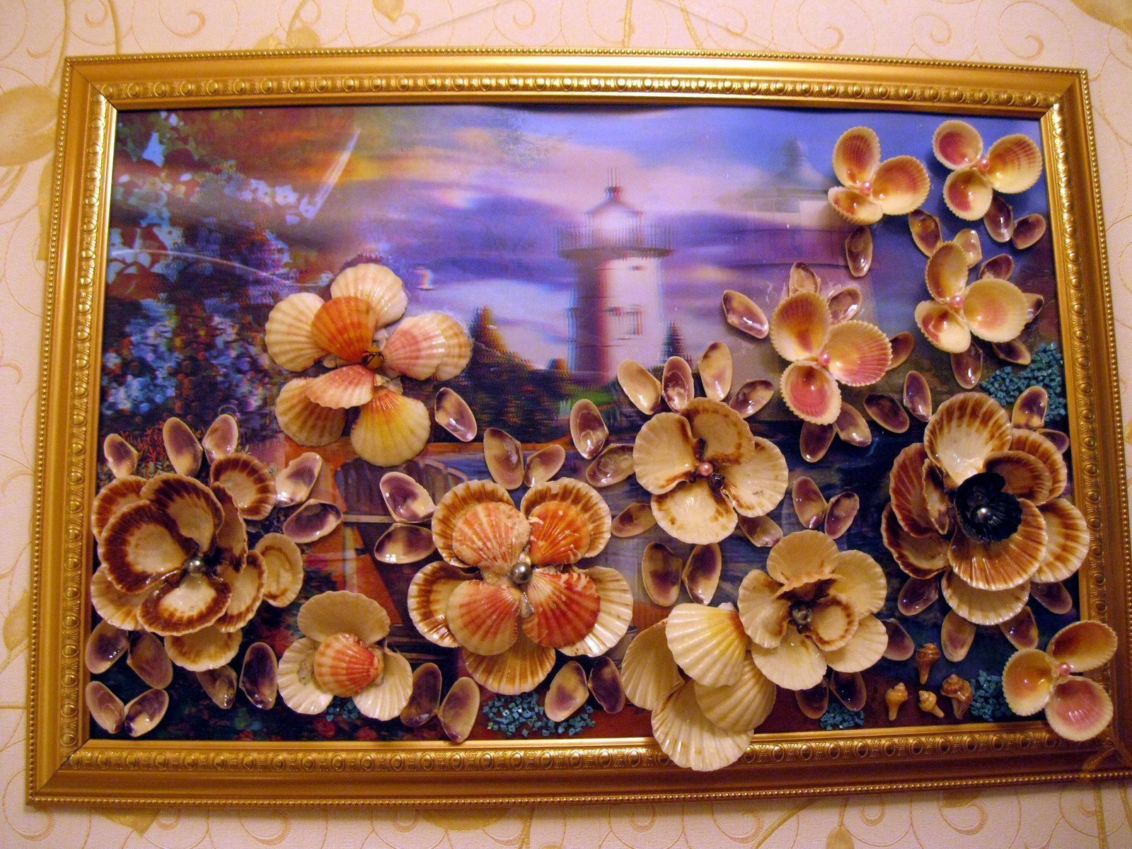 Картины из мелких ракушек своими руками 19