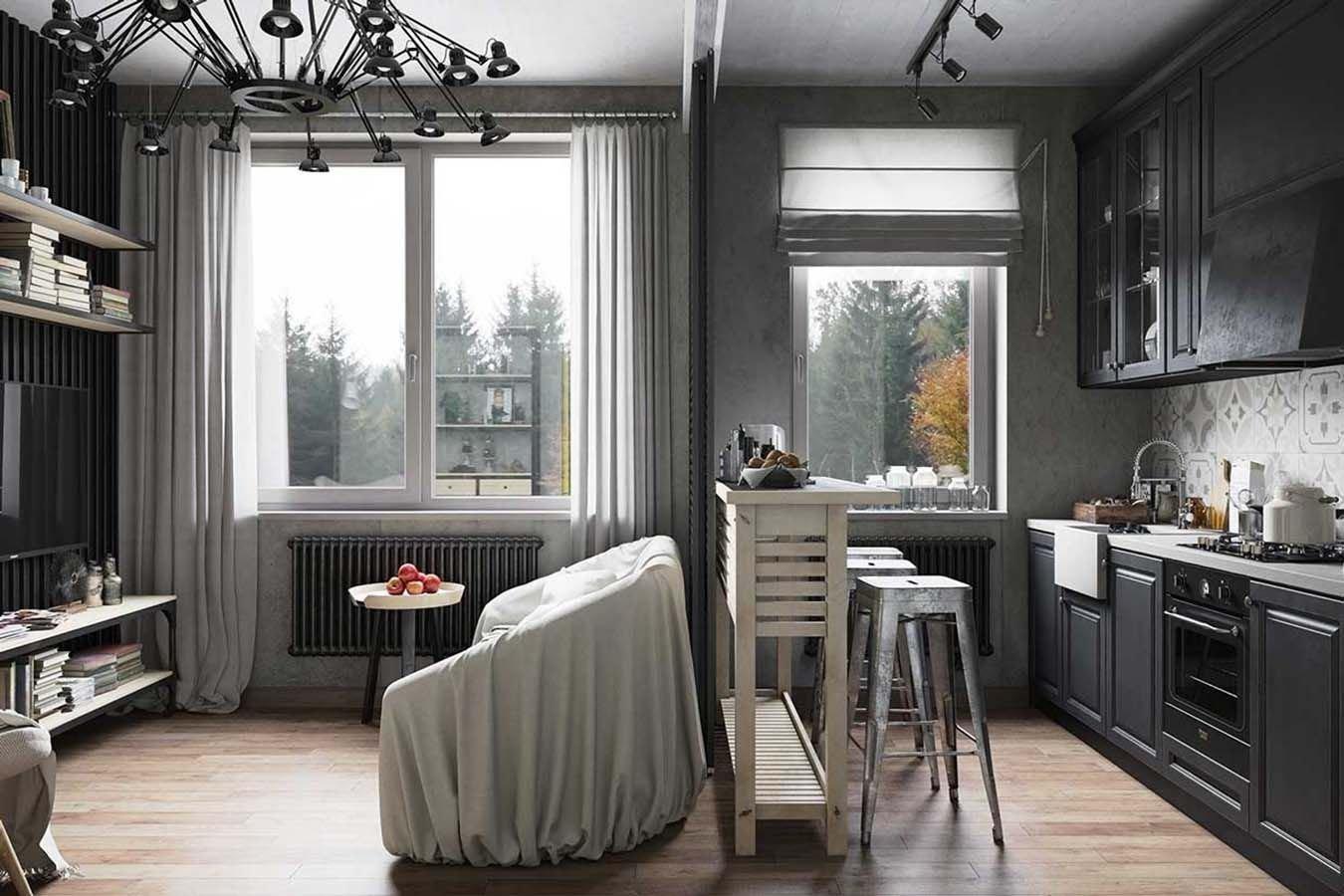 Серые шторы в интерьере