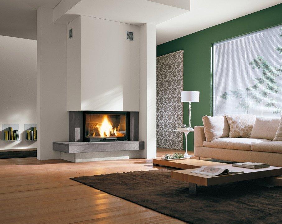 Современный дизайн гостиной с угловым камином