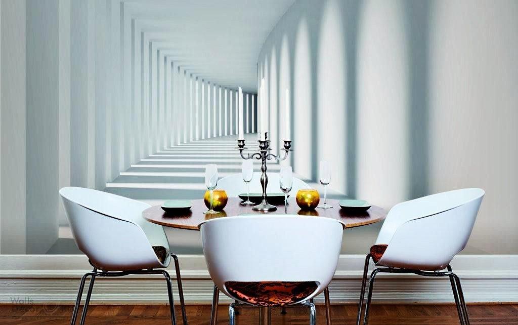 Интерьер столовой с 3d-обоями