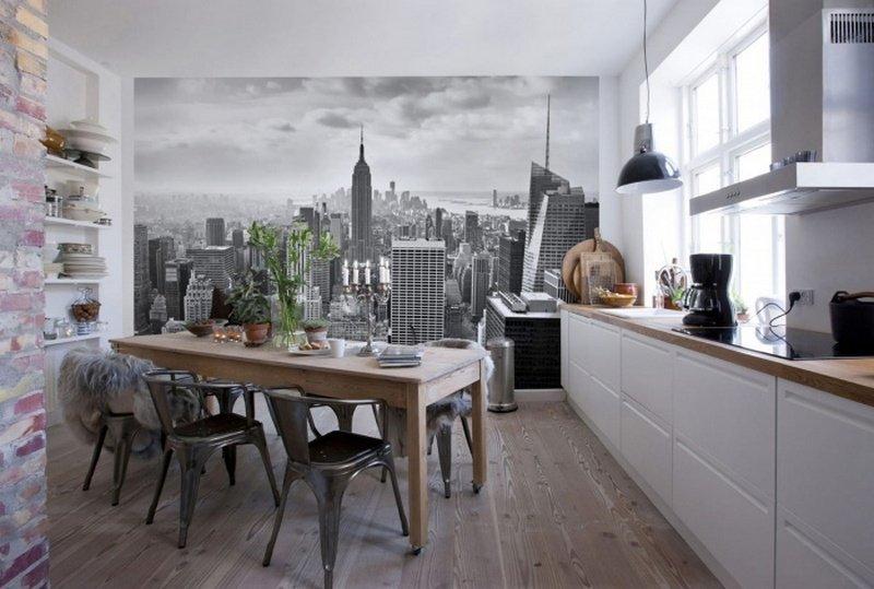 3d-oboi в интерьере кухни