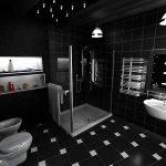 Темный декор ванной комнаты