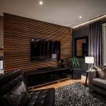 Роскошный декор гостиной в темных тонах