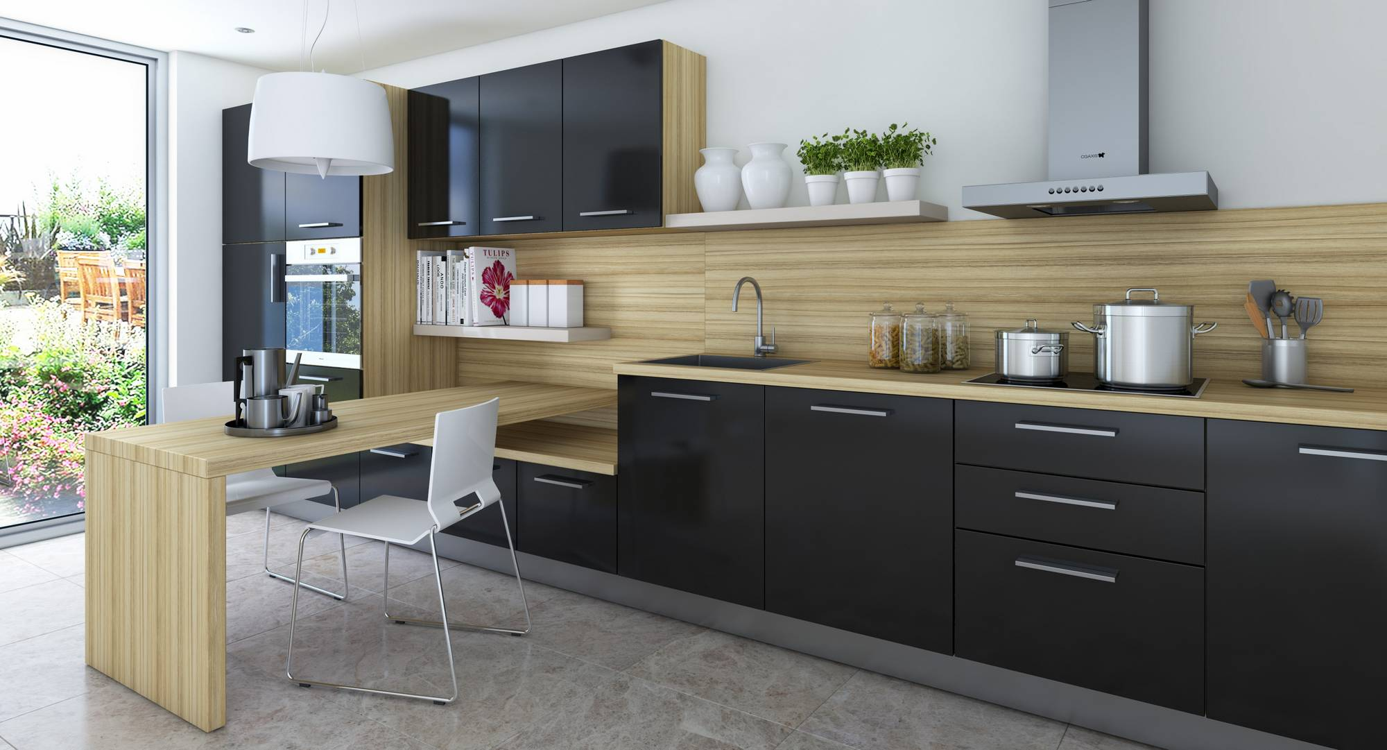 Черная мебель в кухне