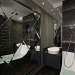 Черная ванная с большим зеркалом