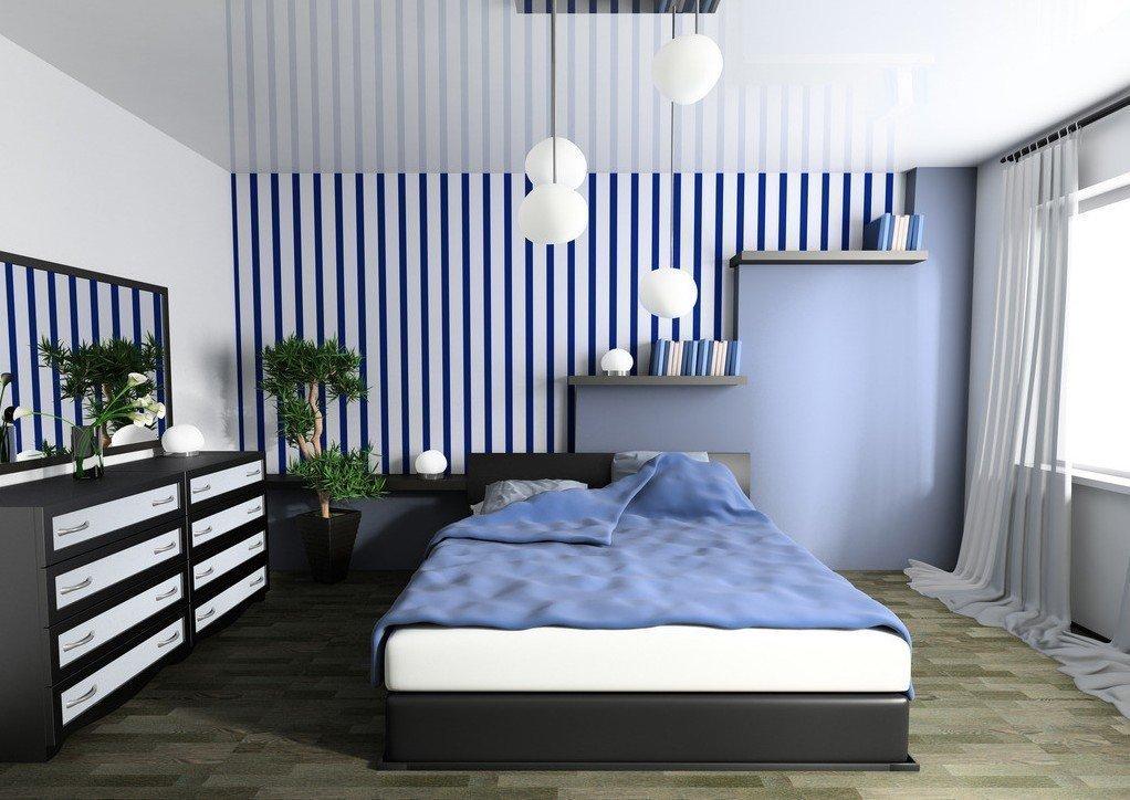 Черный с голубым в интерьере спальни