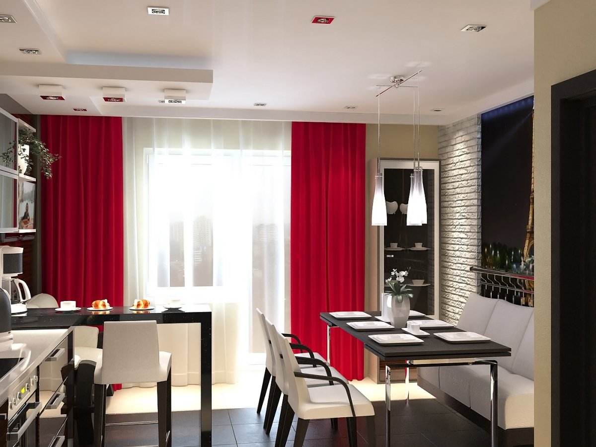 Черно-красный декор кухни