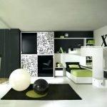 Черно-зеленый интерьер