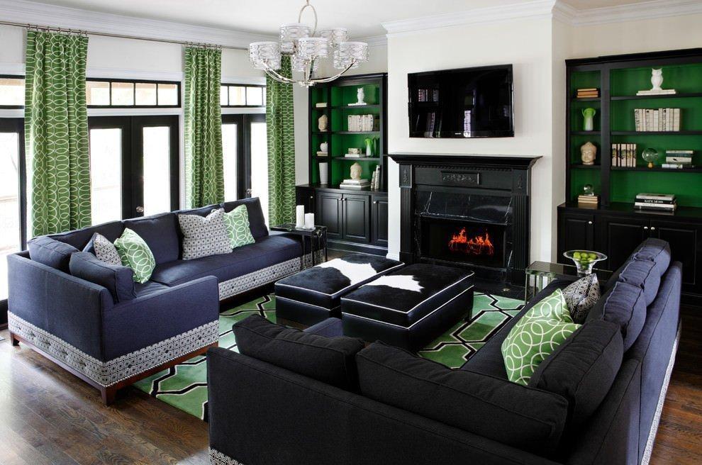 Зеленый с черным в интерьере