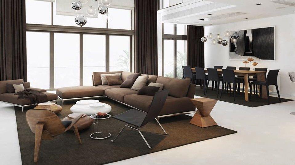 Черно-коричневый декор гостиной