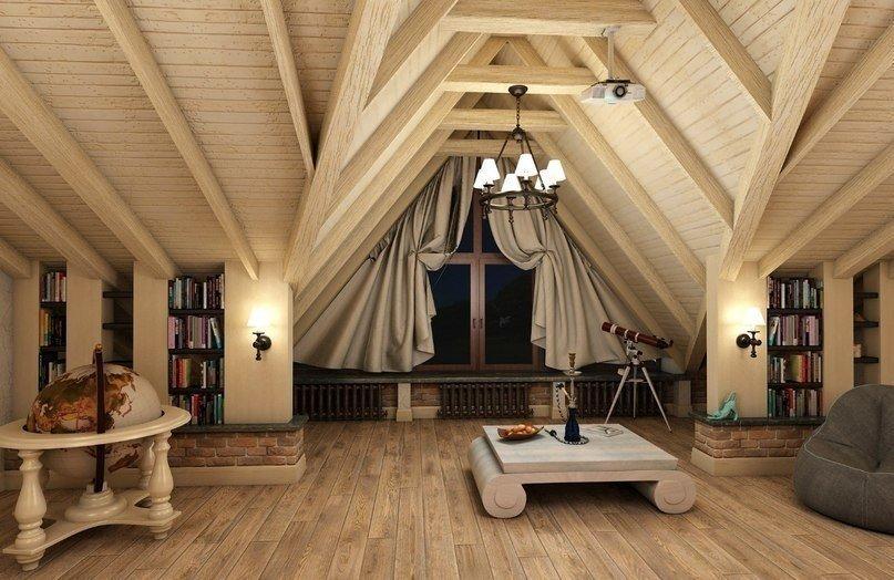 Дизайн чердака в частном доме