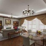 Потолок с подсветкой в гостиной-столовой
