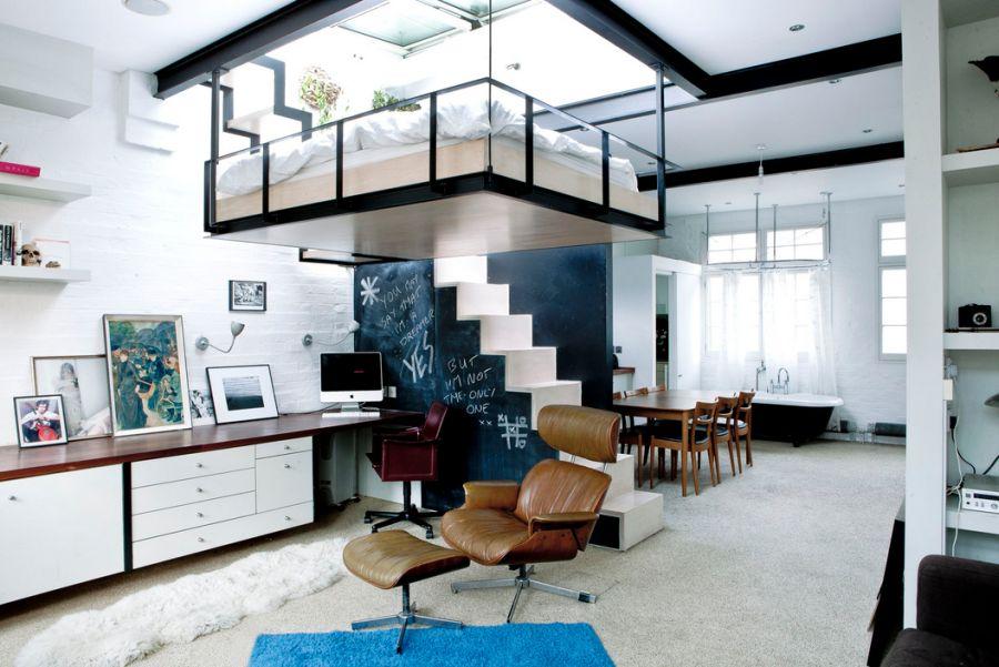 Как сделать спальню под потолком 99