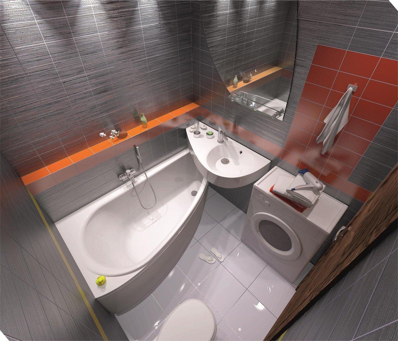 Угловая ванна в малогабаритной ванной