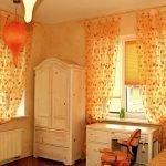 Оранжевый дизайн детской