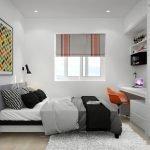 Спальня с кабинетом в светлых тонах