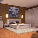Мебель из светлого дерева в спальне