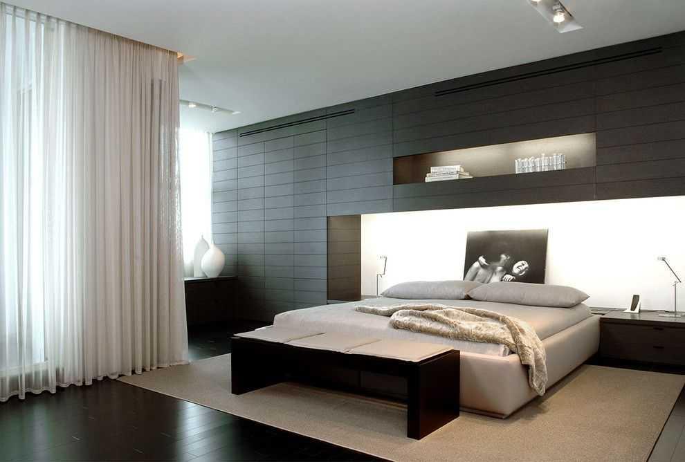 Текстиль в спальне в стиле хай-тек