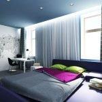 Голубая спальня +75 фото дизайна и интерьера