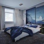 Дизайн синей спальни для молодой пары
