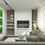 Зеленые картины в светлом интерьере