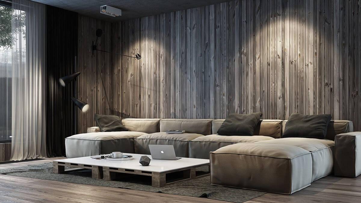 Интерьер гостиной в стиле лофт с обоями под дерево