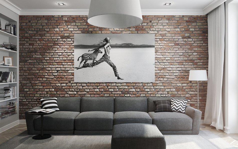 Интерьер в стиле лофт с серым диваном