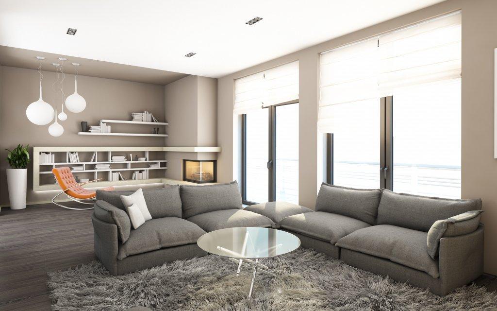 Серый диван в стиле хай-тек в интерьере