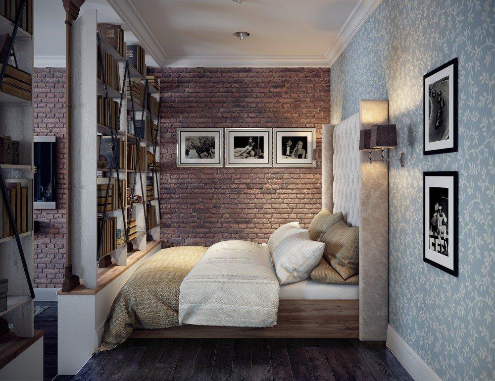 Стеллаж в небольшой спальне