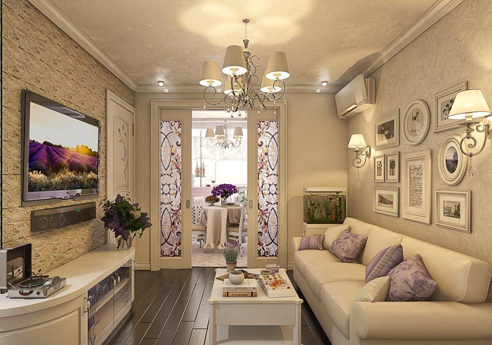 Гостиная в стиле прованс со светильниками