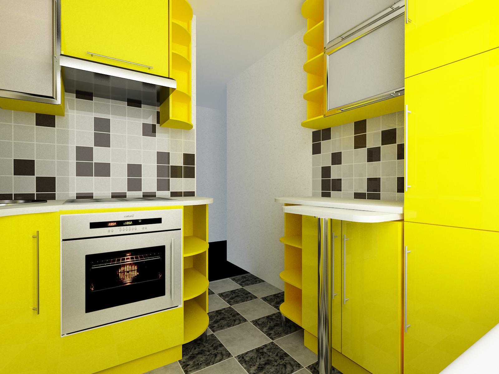 Маленькая кухня в желтом цвете