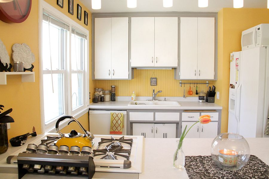 Темно-желтый цвет интерьере кухни