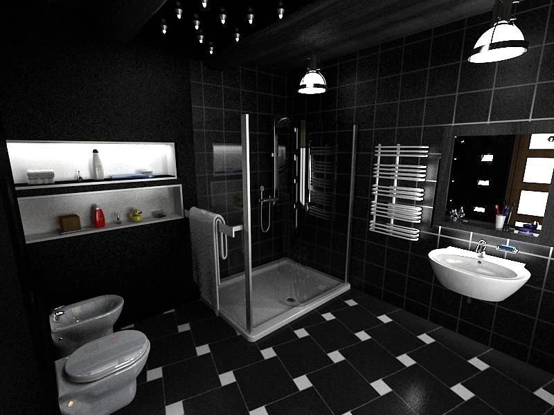 Черный декор ванной