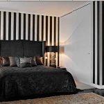 Полосатые стены в спальне