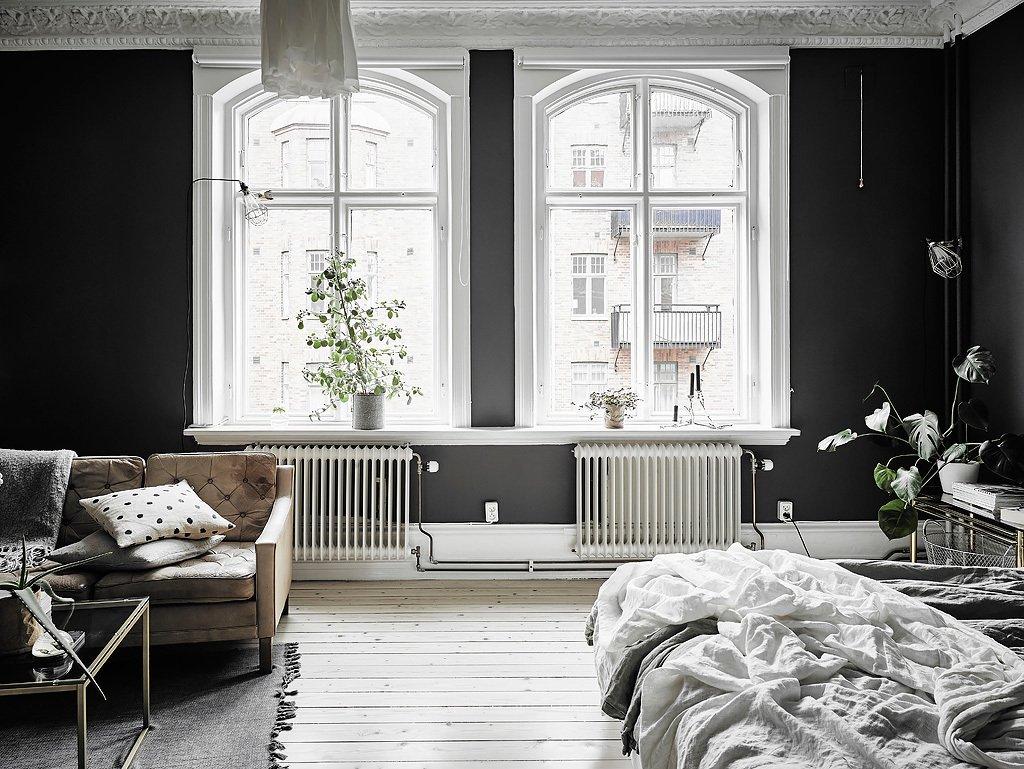 Черно-белый дизайн комнаты