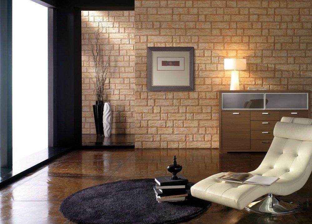 Песочные стены в гостиной