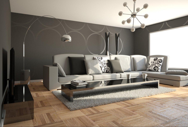 Паркет на полу гостиной в стиле минимализм