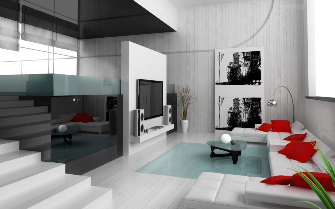 Светлый пол в гостиной в стиле минимализм