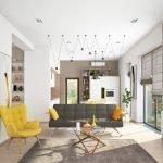 Желтое кресло в белом интерьере