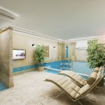 Горшки с комнатными деревцами у бассейна