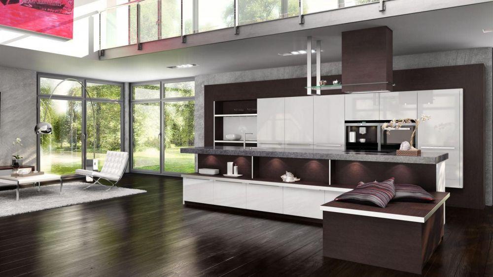 Кухня в бело-коричневом цвете