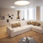 Интерьер с зонами гостиной, столовой и кухни