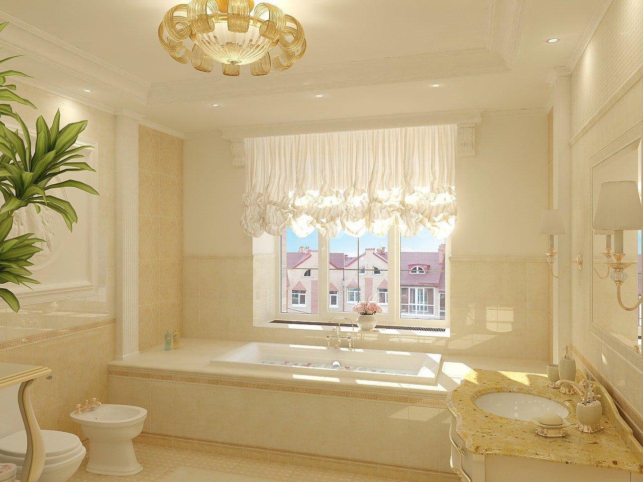 Светлые стены в ванной в классическом стиле