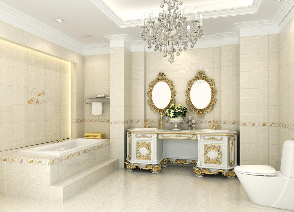 Освещение в ванной в классическом стиле